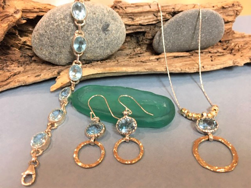 handcrafted earrings, necklace and bracelet