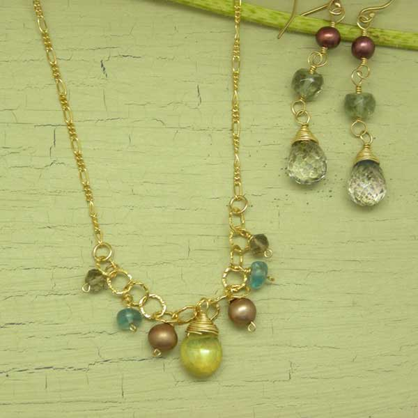 Gold filled and gem necklace