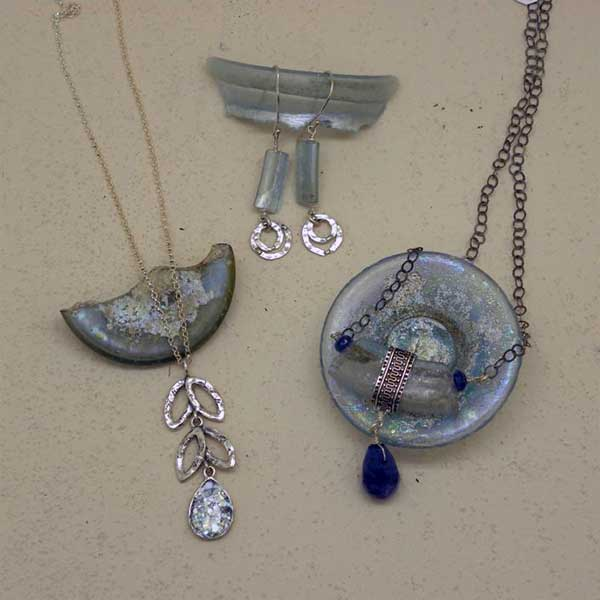 Jewelry made with ancient Roman glass
